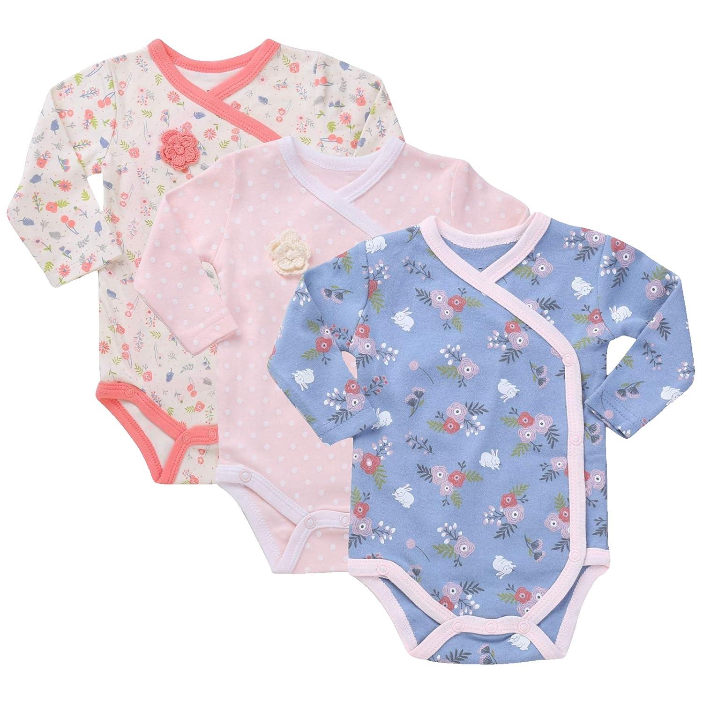 Asher /& Olivia Baby Kimono Side Snap Onesies 3 Pc Girl Long Sleeve Bodysuit Set