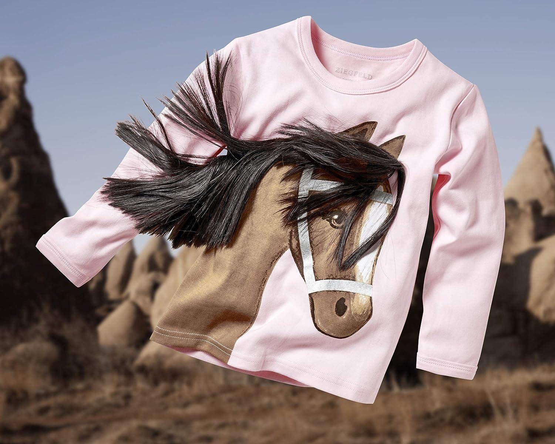 104-134 Langarm 3 D Mähne ZIEGFELD Kids Shirt blau mit Pferd Stella weiß Gr