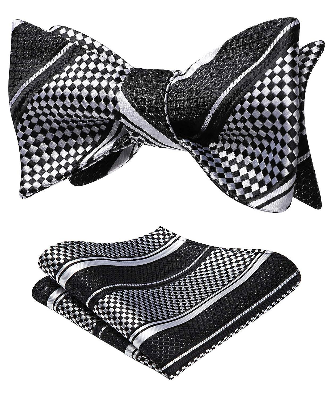 HISDERN Mens Check Houndstooth Tie Handkerchief Wedding Party Necktie /& Pocket Square Set