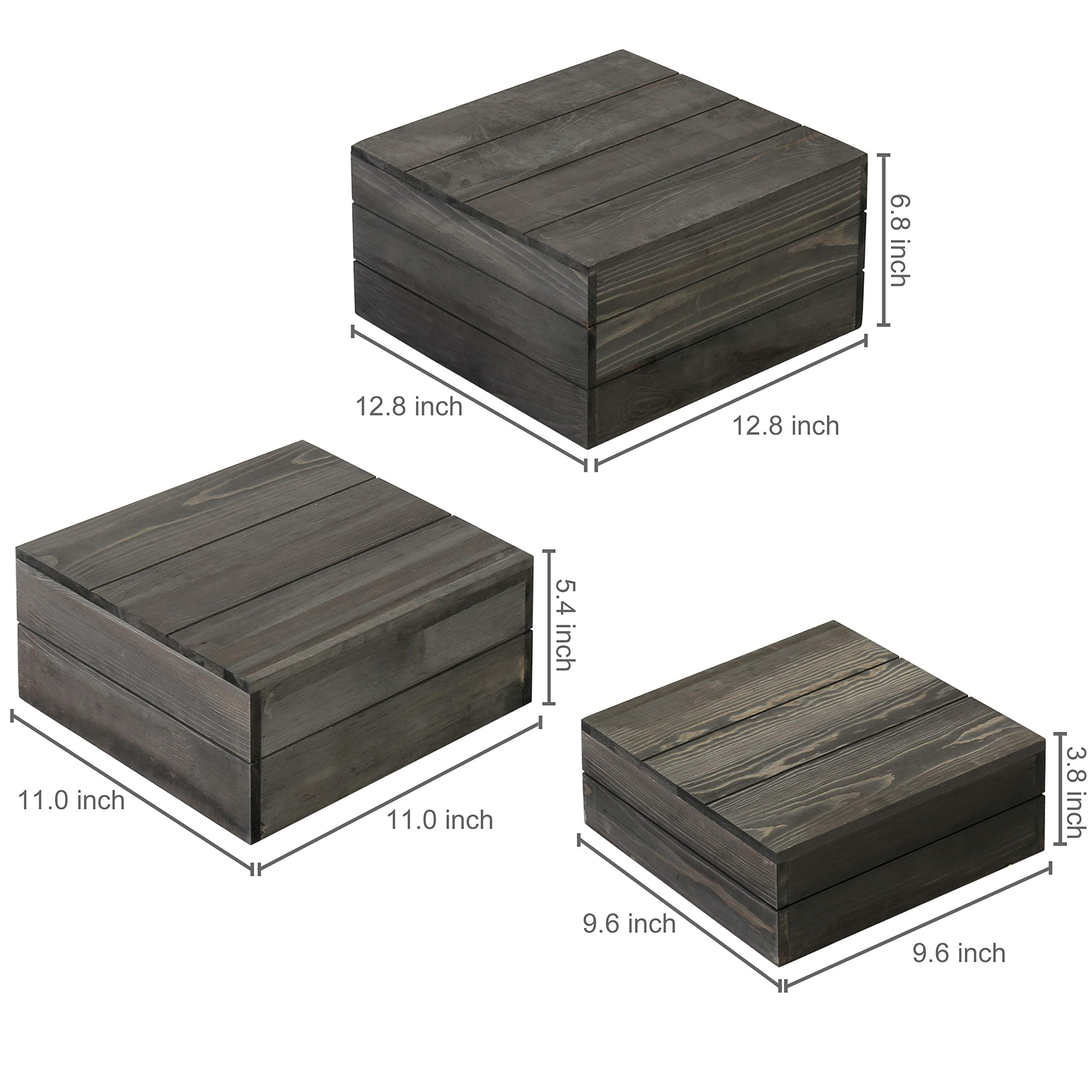 MyGift Rustic Gray Wood Crate Display Risers, Set of 3 by MyGift (Image #3)