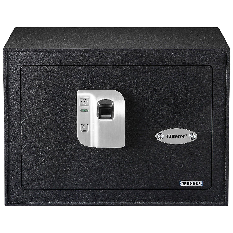 Ollieroo Safe 0.8 CF Steel Electronic Biometric Fingerprint Safe Box with Shelves Fingerprint Sensor Manual Key and Integrated LED Light Black
