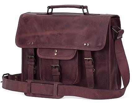 15 Inch Leather Vintage Rustic Crossbody Messenger Satchel Bag Gift Men  Women ~ Business Work Briefcase 65670bf042319