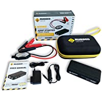 Rugged Geek RG1000 Safety 1000A Portable Car Jump Starter Pack with LCD Display, INTELLIBOOST Smart Cables, LED Flashlight, USB & Laptop Charging (2nd Gen)