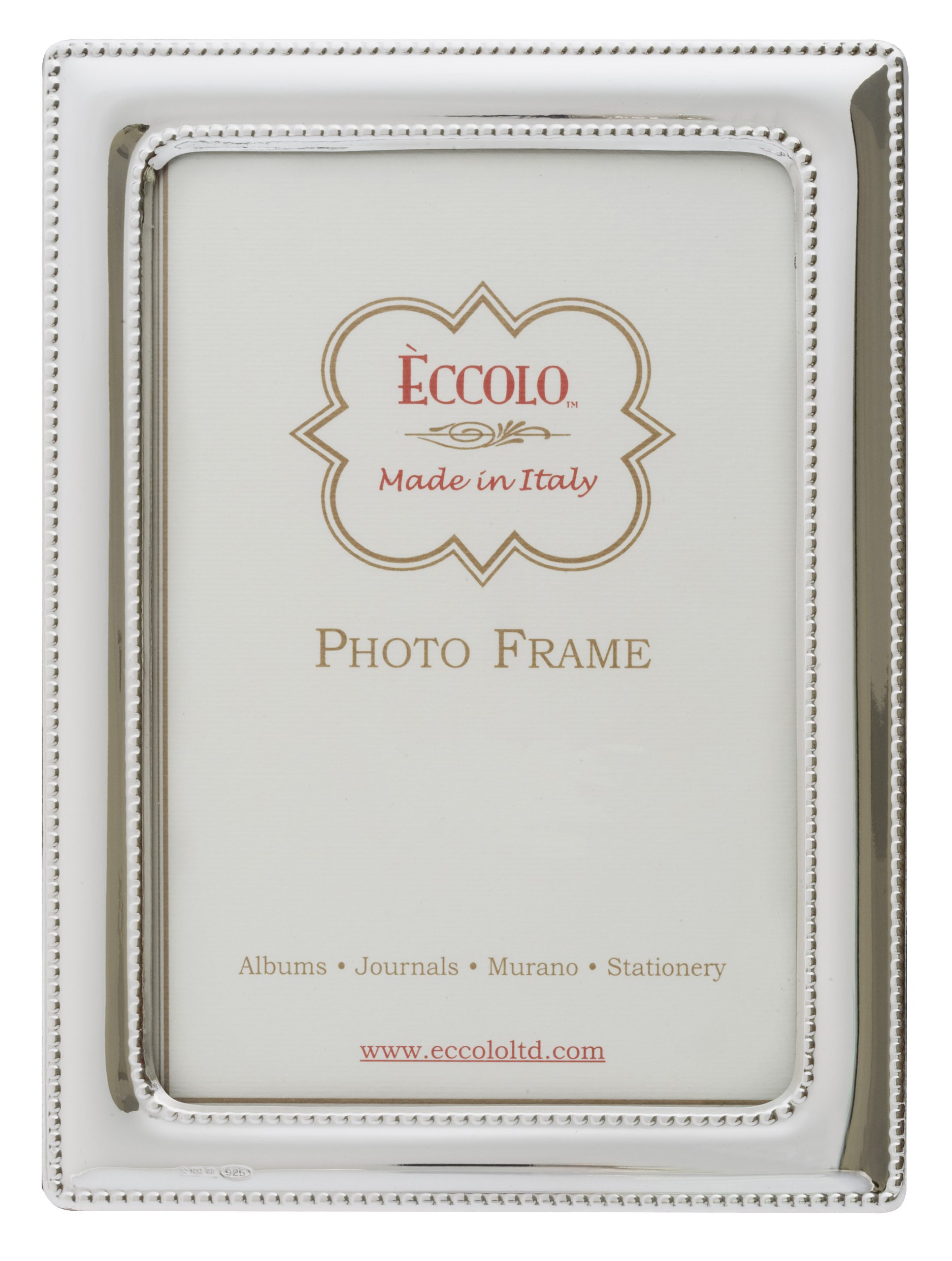 Eccolo Made In Italy Sterling Silver Frame,  Double Beaded, Holds a 5 x 7-Inch Photo