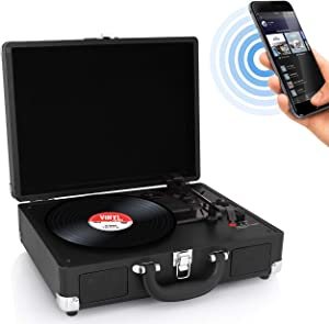 Pyle Upgraded Vintage Record Player - Classic Vinyl Player, Turntable, Rechargeable Batteries, Bluetooth, MP3 Vinyl, Music Editing Software Included, Works w/ Mac & PC, 3 Speed - PVTTBT6BK (Black)