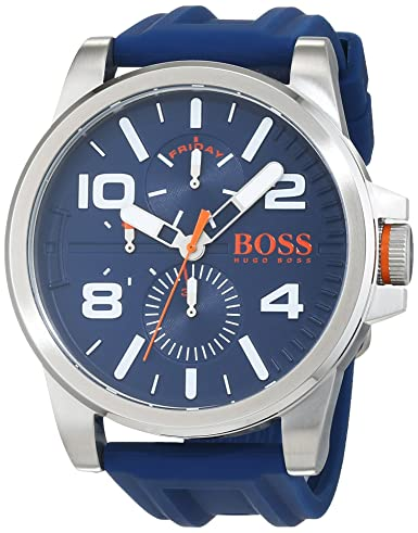 7ea24e5ea Hugo Boss Orange Detroit Mens Quartz multi dial Blue Silicone Strap  1550008: Amazon.co.uk: Watches