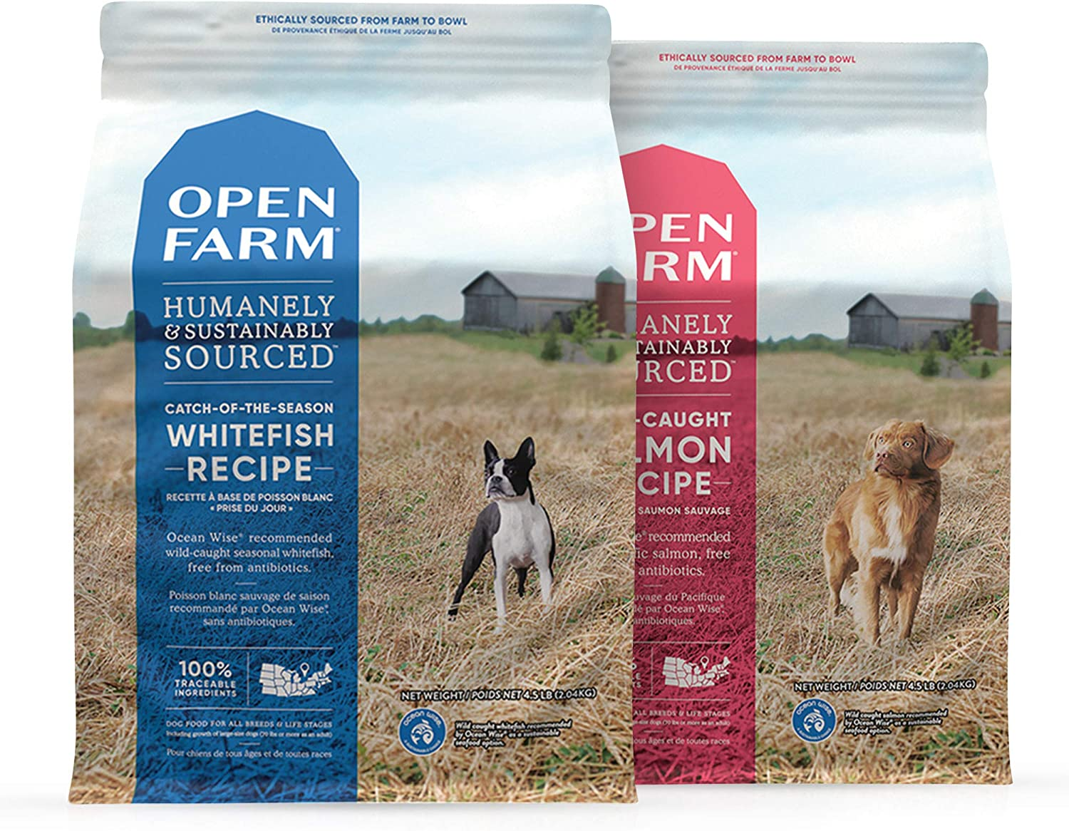 Open Farm Grain Free Dry Dog Food, Catch-of-The-Season Whitefish and Wild-Caught Salmon Bundle, Non-GMO Superfoods and No Artificial Flavors or Preservatives, 4.5 lbs