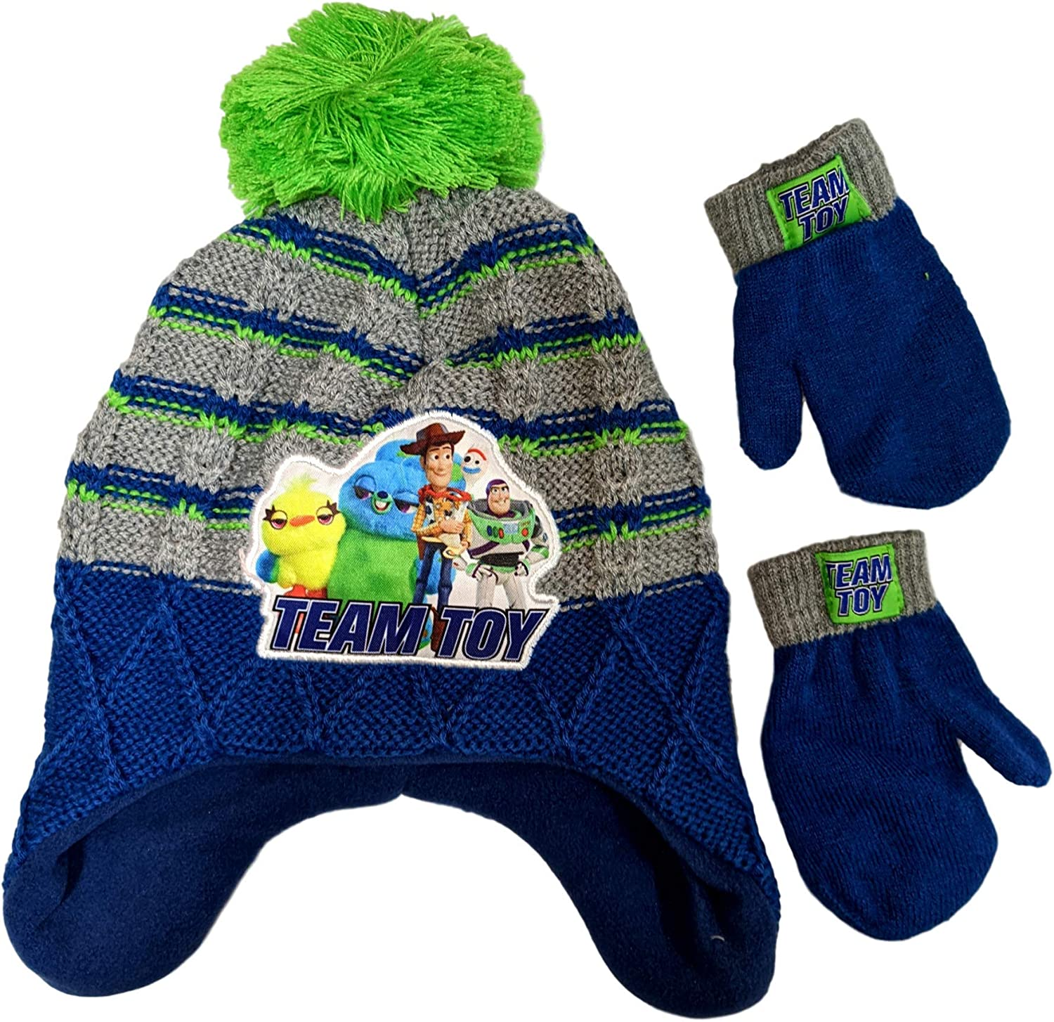 Disney Toddler Boys Cars Peruvian Hat /& Mittens Set One Size New