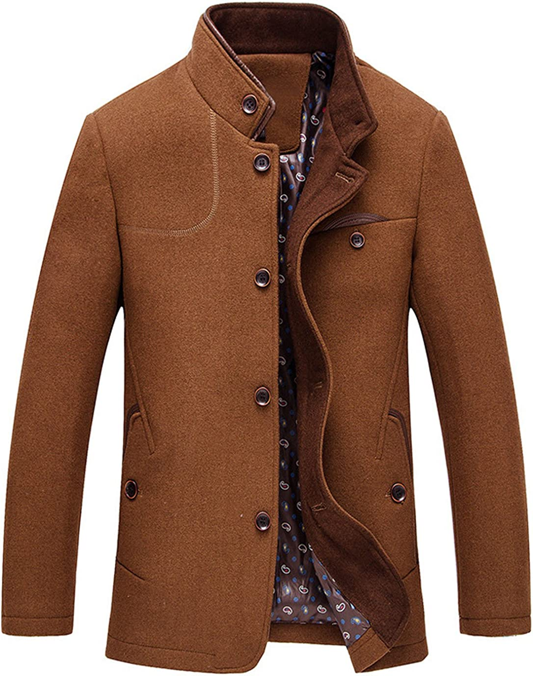 chouyatou Mens Fall and Winter Slim Single Breasted Wool Blend Coat with Removable Scarf