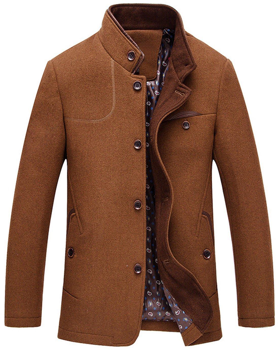 chouyatou Men's Gentle Band Collar Single Breasted Wool Blend Pea Coat (Brown, Medium) by chouyatou