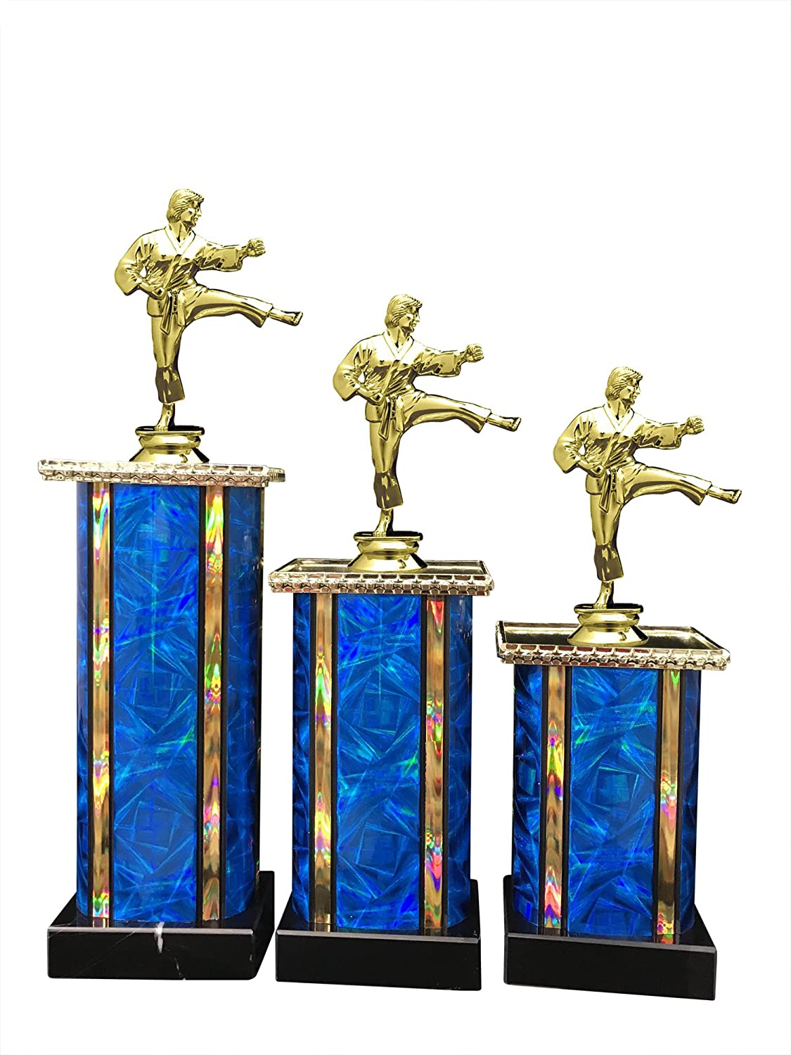 メスMartial Arts Award Trophy ( 3 - Pack ) 1st 2 nd 3rd Place B0752T5PZ6