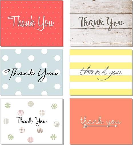 Amazon.com: Paquete de 48 tarjetas de agradecimiento con ...