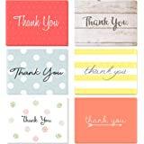 (48 pack) Thank You Cards Set with Envelopes - Professional paper with red yellow silver blue pink designs and blank white in
