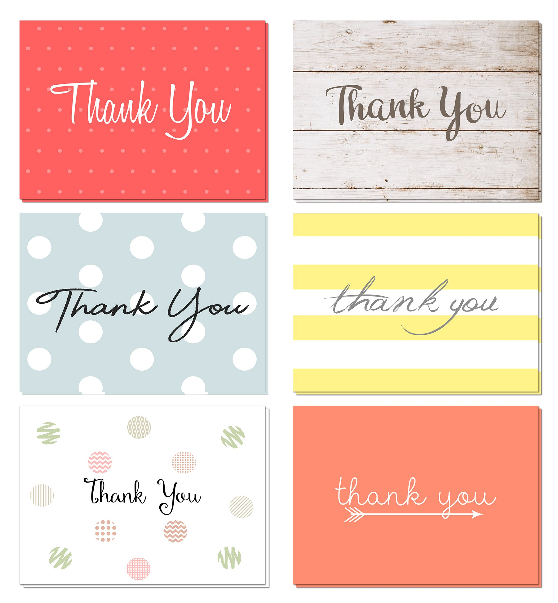 48 pack thank you cards set with envelopes professional paper