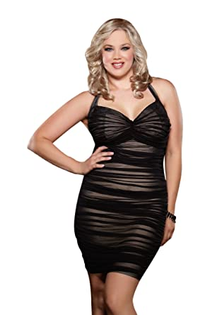 Amazon.com: Dreamgirl Women's Plus-Size After Dark Retro Style ...