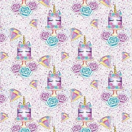 Laeacco Cartoon Unicorn Birthday Cake Backdrop 5x5ft Vinyl Purple Diamond Flower Photography Background Studio