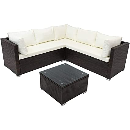 Sunnydaze Port Laoise Outdoor Patio Furniture Sectional Sofa Set with  Cushions, Rattan Balcony & Porch Conversation Seating