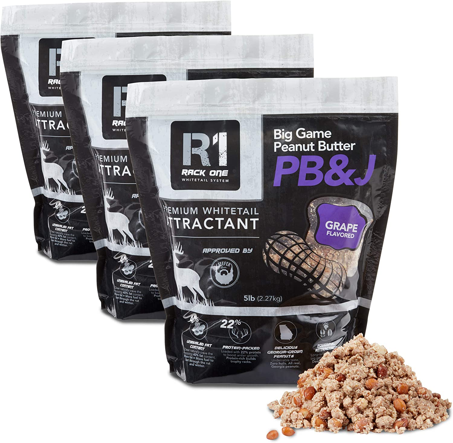 Rack One Big Game Peanut Butter Premium Whitetail Deer Attractant | 5 Lb Bags | 3 Pack | Grape Flavor | 100% Shelled Peanuts, Deer Feed Protein Supplement, Works as Bear & Hog Attractant