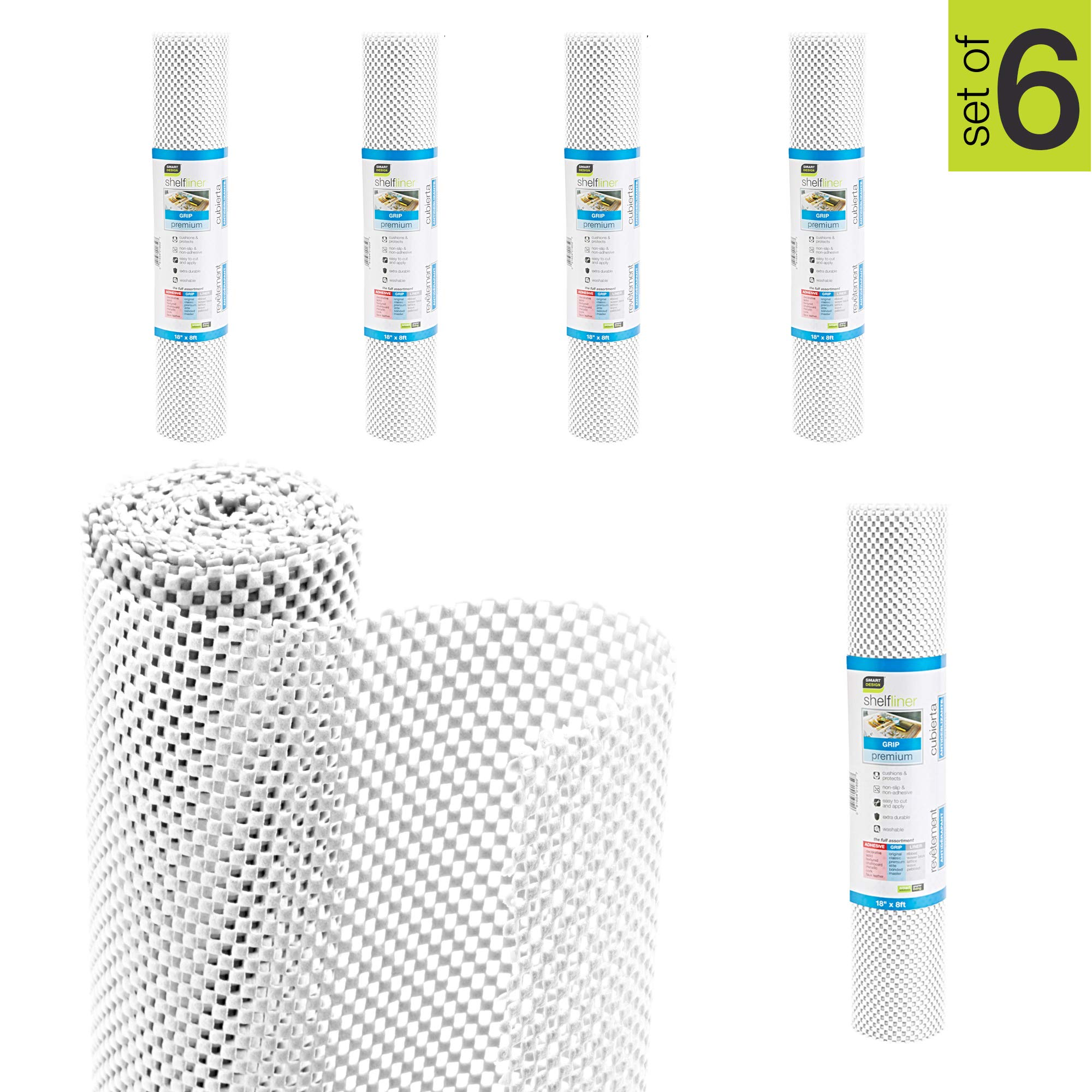 Smart Design Shelf Liner w/Premium Grip - Wipes Clean - Cutable Material - Non Slip Design - for Shelves, Drawers, Flat Surfaces - Kitchen (18 Inch x 8 Feet) [White] - Set of 6-48' Total by Smart Design