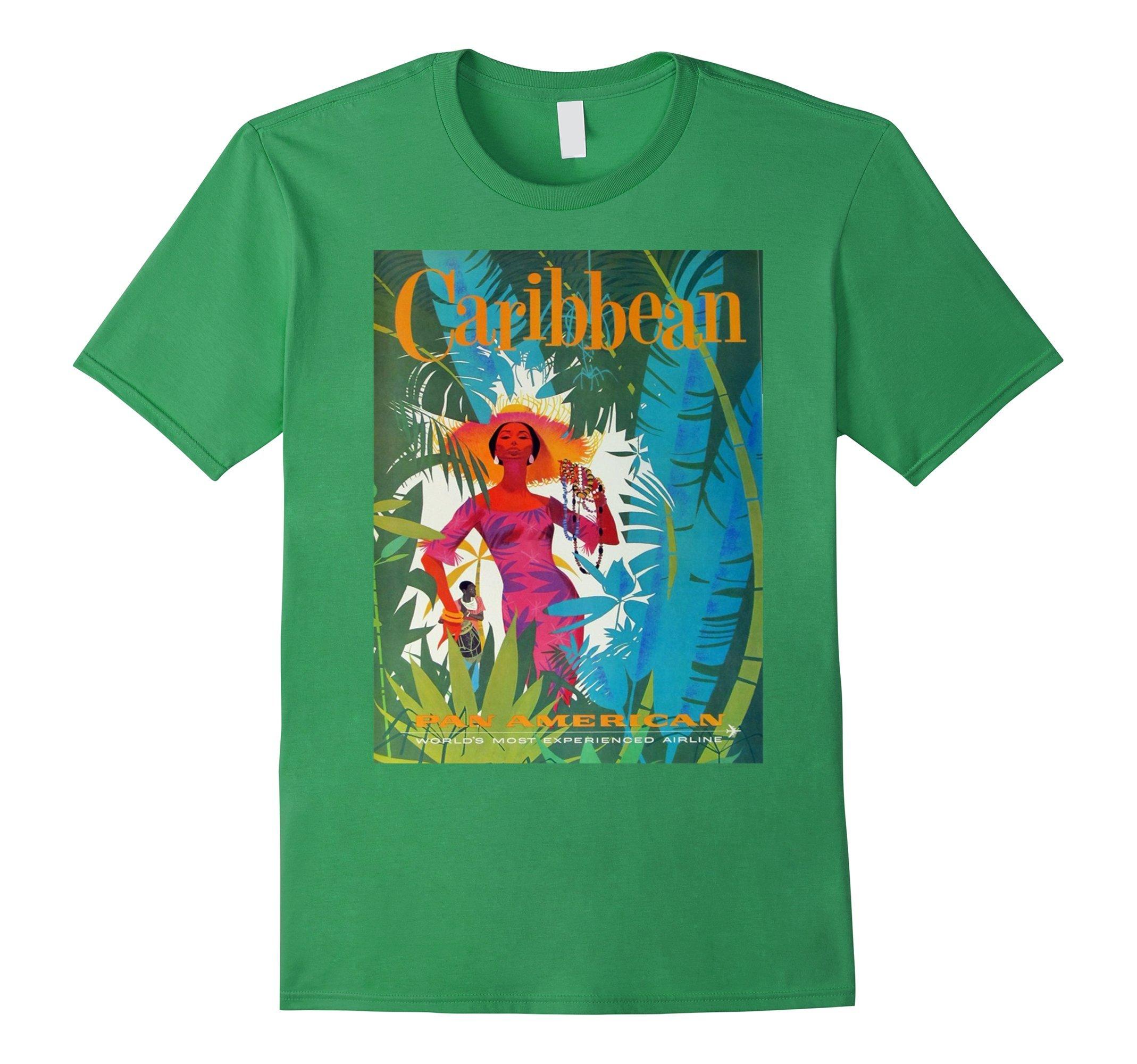 Mens Vintage poster - Caribbean Retro T-Shirt XL Grass