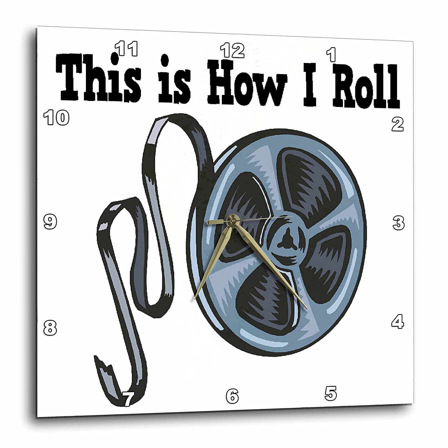 3dRose dpp/_102536/_3 This is How I Roll Movie Film Tape Design Wall Clock 15 by 15-Inch