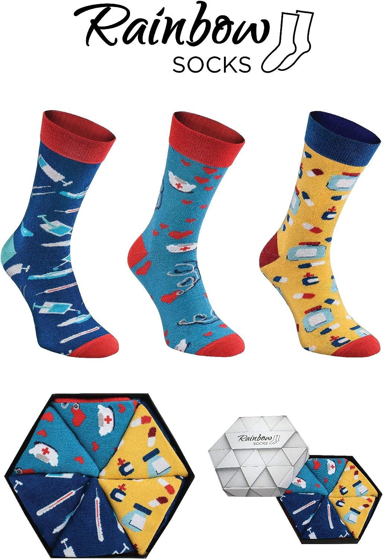 Donna Uomo Regalo Set Calze per Infermiere Rainbow Socks 3 Paia