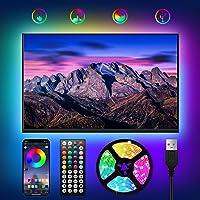 WOANWAY Led-achtergrondverlichting voor tv, 3 m, USB-ledstrip, bluetooth app-bediening, sync muziek met microfoon, tv…