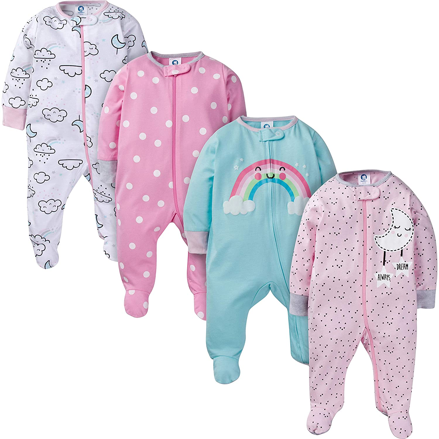 Gerber Baby Girls 4-Pack Sleep 'N Play