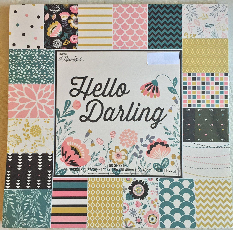 Hello Darling 12x12 Scrapbooking Paper Pad, 80 Sheets The Paper Studio 1100007
