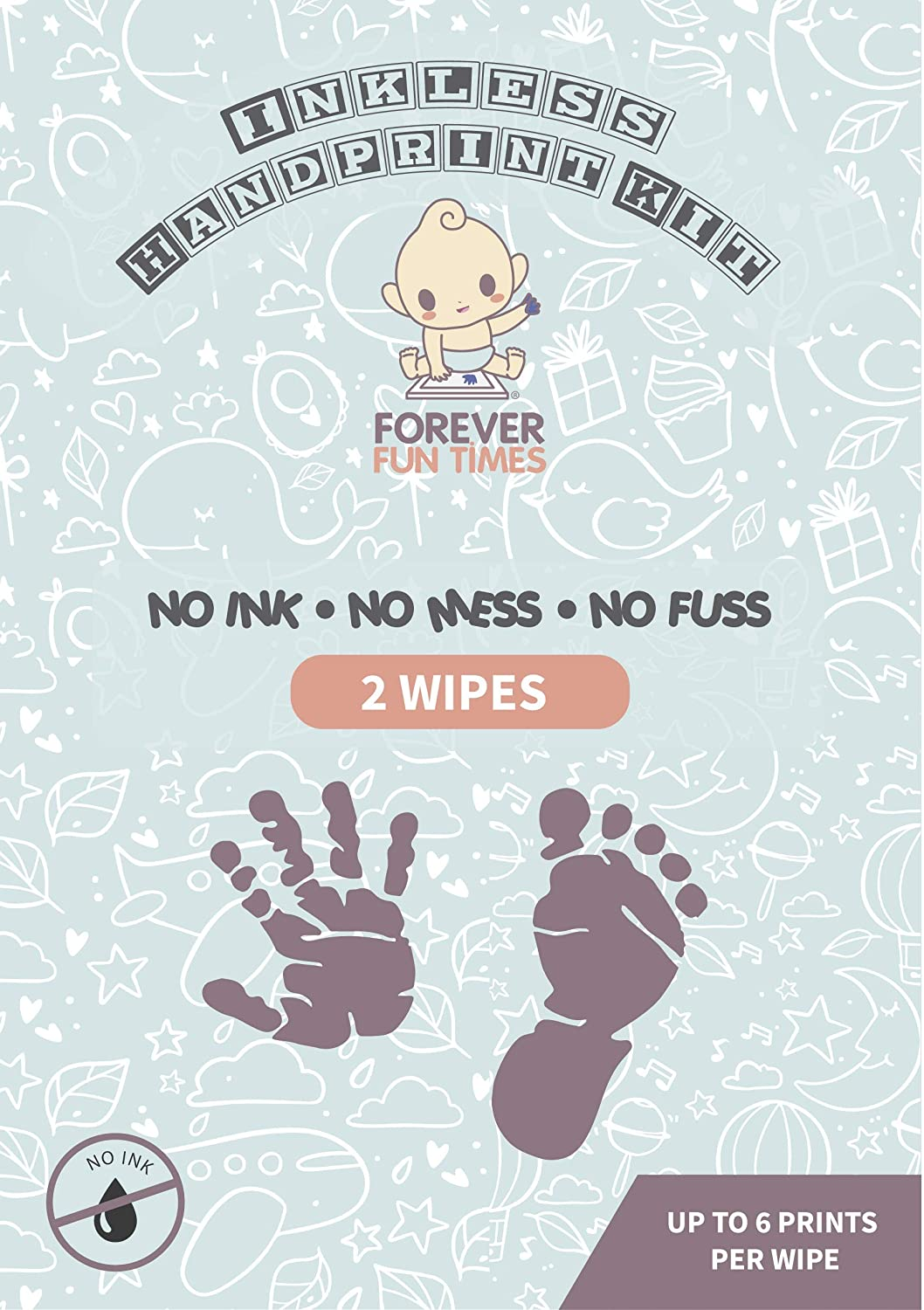 Baby Inkless Print Kit with 2 Special Wipes by Forever Fun Times | Get Detailed Prints with None of The Mess | Baby Hand and Footprint Kit with 8 20.6x14cm Sheets of Paper