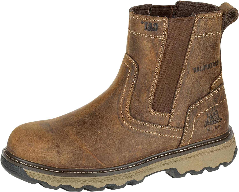 Brown Caterpillar Men's Safety Boots Wide Fit Pelton Rigger Dealer Boots - 7069