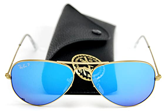 7baf9b5f94e Image Unavailable. Image not available for. Color  Ray-Ban RB3025 112 4L  Aviator Sunglasses Blue Mirror Polarized ...