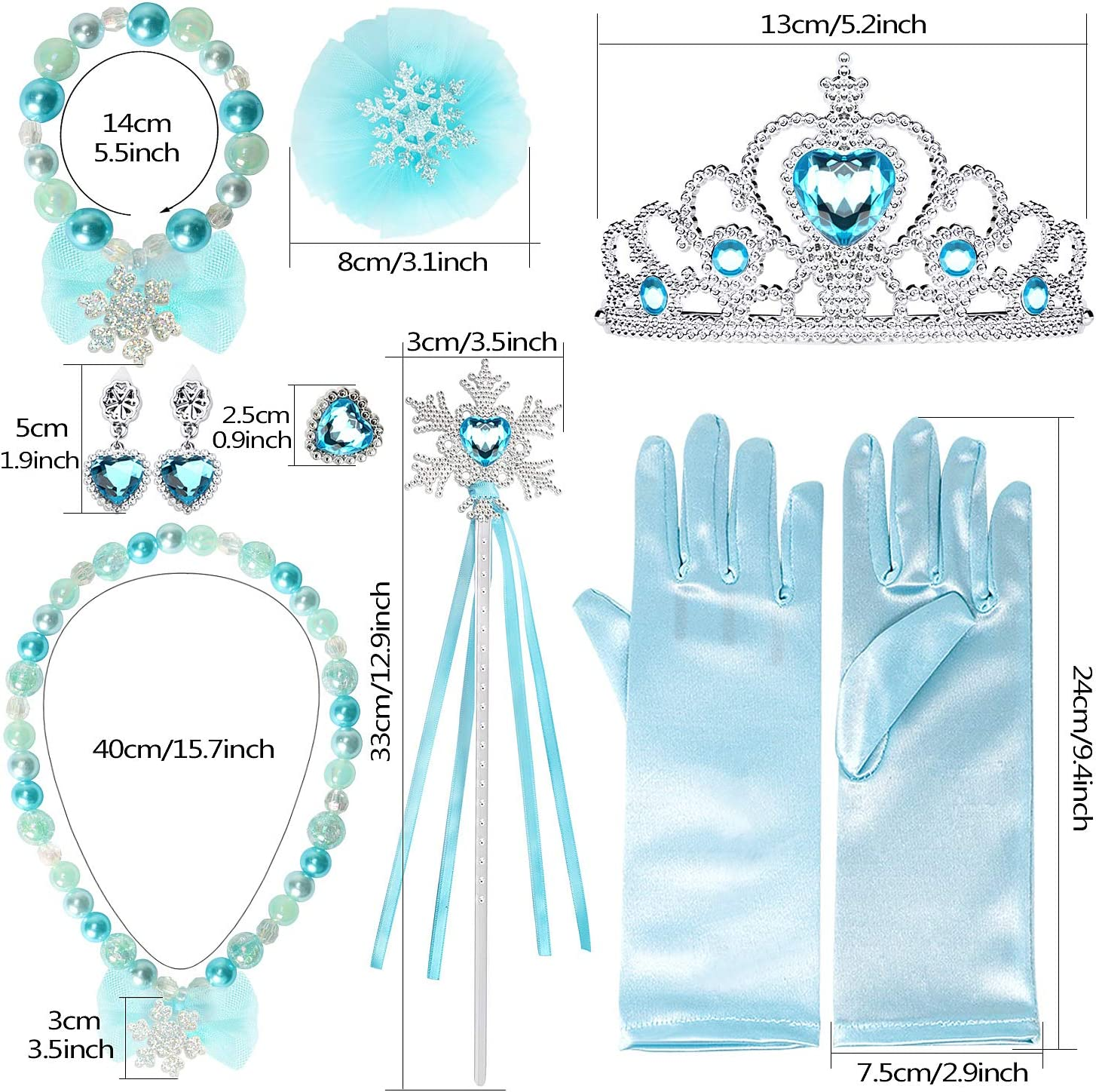 Joinfun Princess Dress up Accessories 9 Pieces Set Tiara Crown Wig Wand Gloves Mask Kits For Girls Birthday Gift Party Supplies Halloween Costume for Kids Aurora