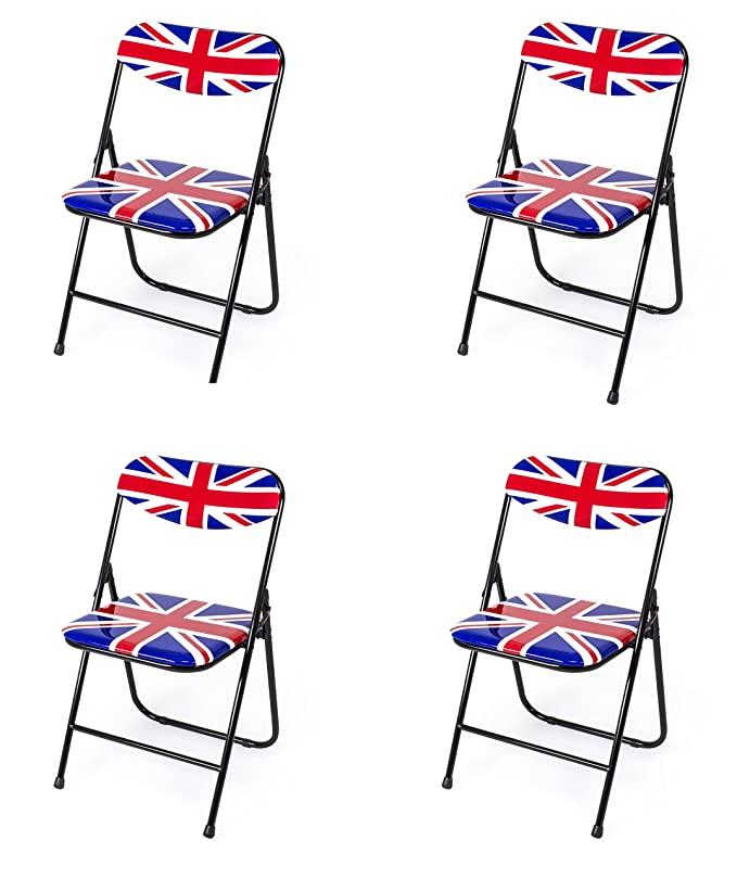 Due-home (Candy) Pack 4 sillas Plegables Estructura metálica y PVC Brillante 47x46x76 cm de Altura (British)
