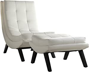 OSP Home Furnishings Tustin Faux Leather Lounge Chair and Ottoman Set with Solid Wood Legs, White
