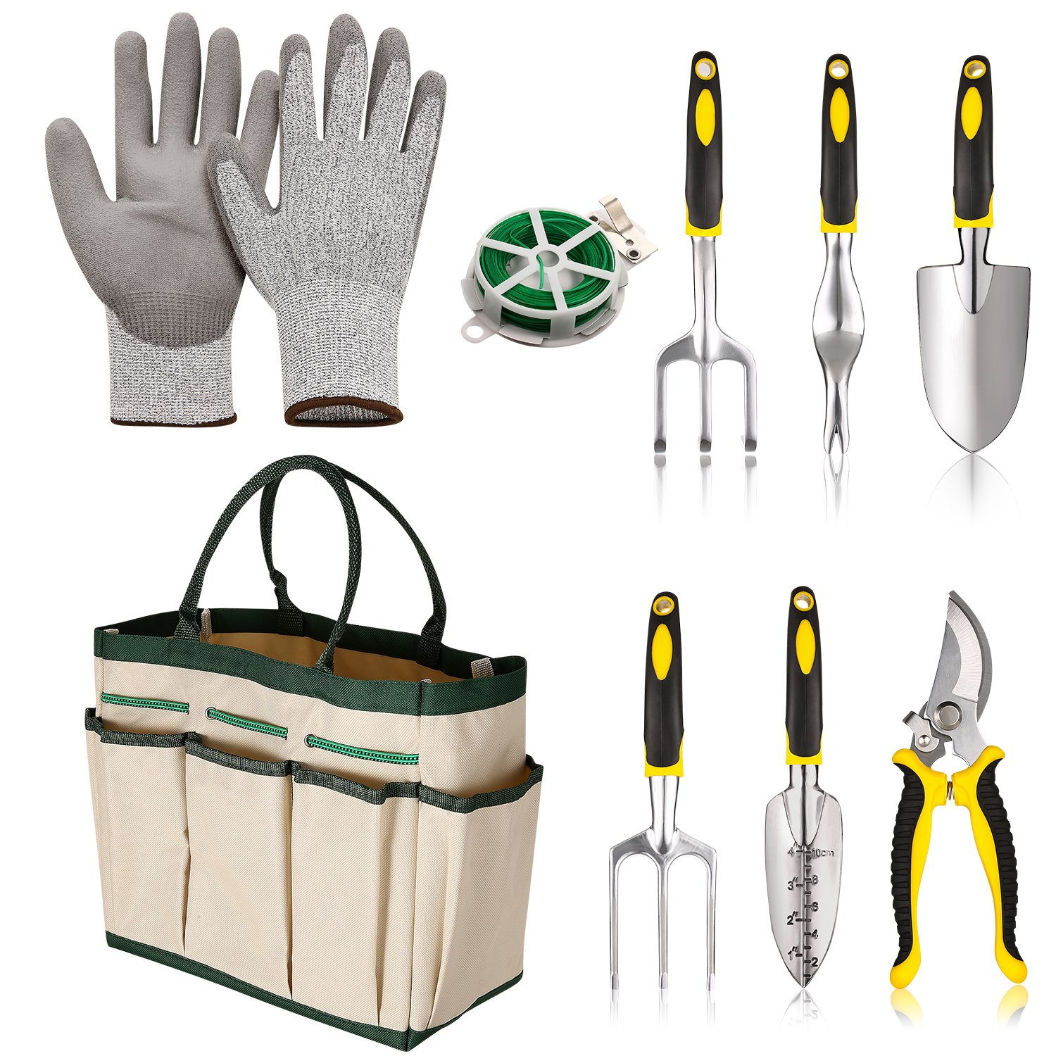 Moroly 9 Piece Garden Tool Set for Digging Planting Gardening Kit with 6 Heavy Duty Cast-aluminum Heads,Cut-resistant Gloves, Plant Twist Tie and Storage Bag (White)