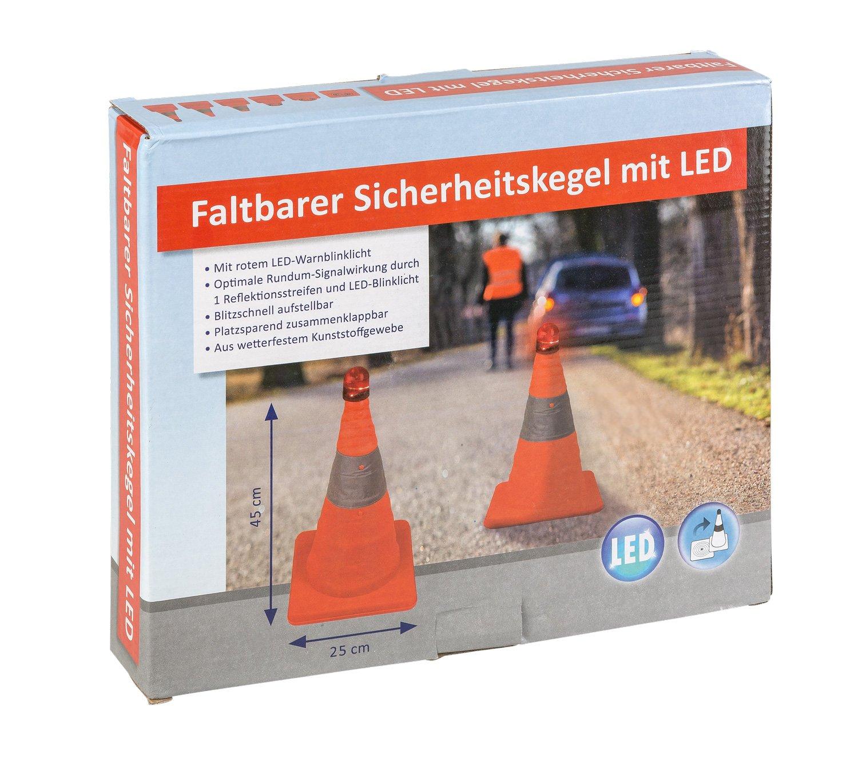 Unbekannt III 10049516 Faltbarer Sicherheitskegel mit LED Licht, ca. 45 cm