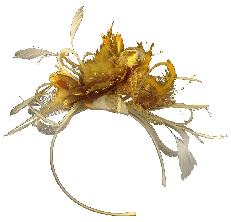 Crema Marfil y dorado neta aro plumas Tocado para cabello diadema boda Royal Ascot de carreras