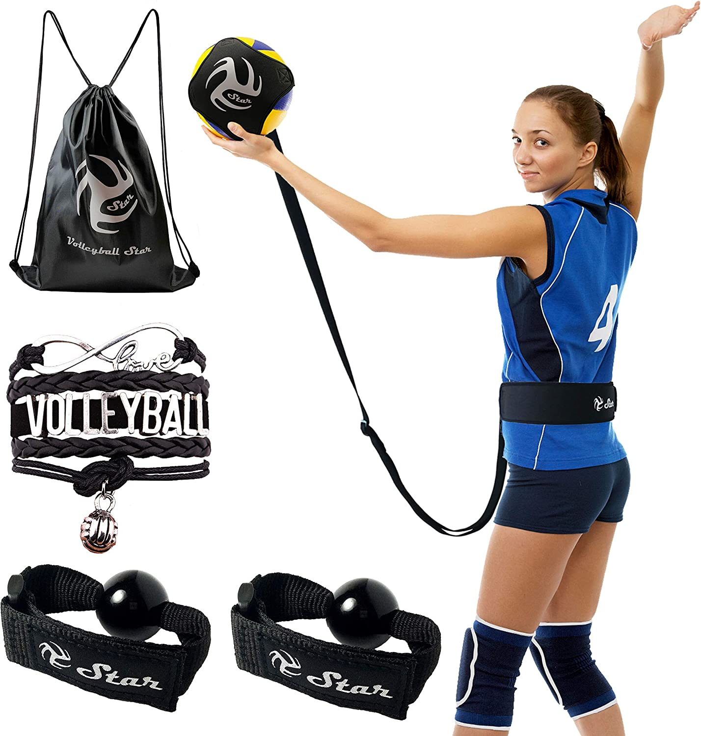 Volleyball Star Training Equipment - 1 Ball Rebounder for Solo Practice Your Serve And Spike +2 Setting Trainer Straps For a Proper Hand Placement +1 Drawstring Backpack +1 Handmade Bracelet : Sports & Outdoors