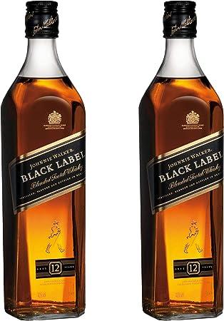 Johnnie Walker Black Label 639897 - Botella de Whisky Deslumbrante (2 Unidades, 12 años, Alcohol, 40%, 700 ml)