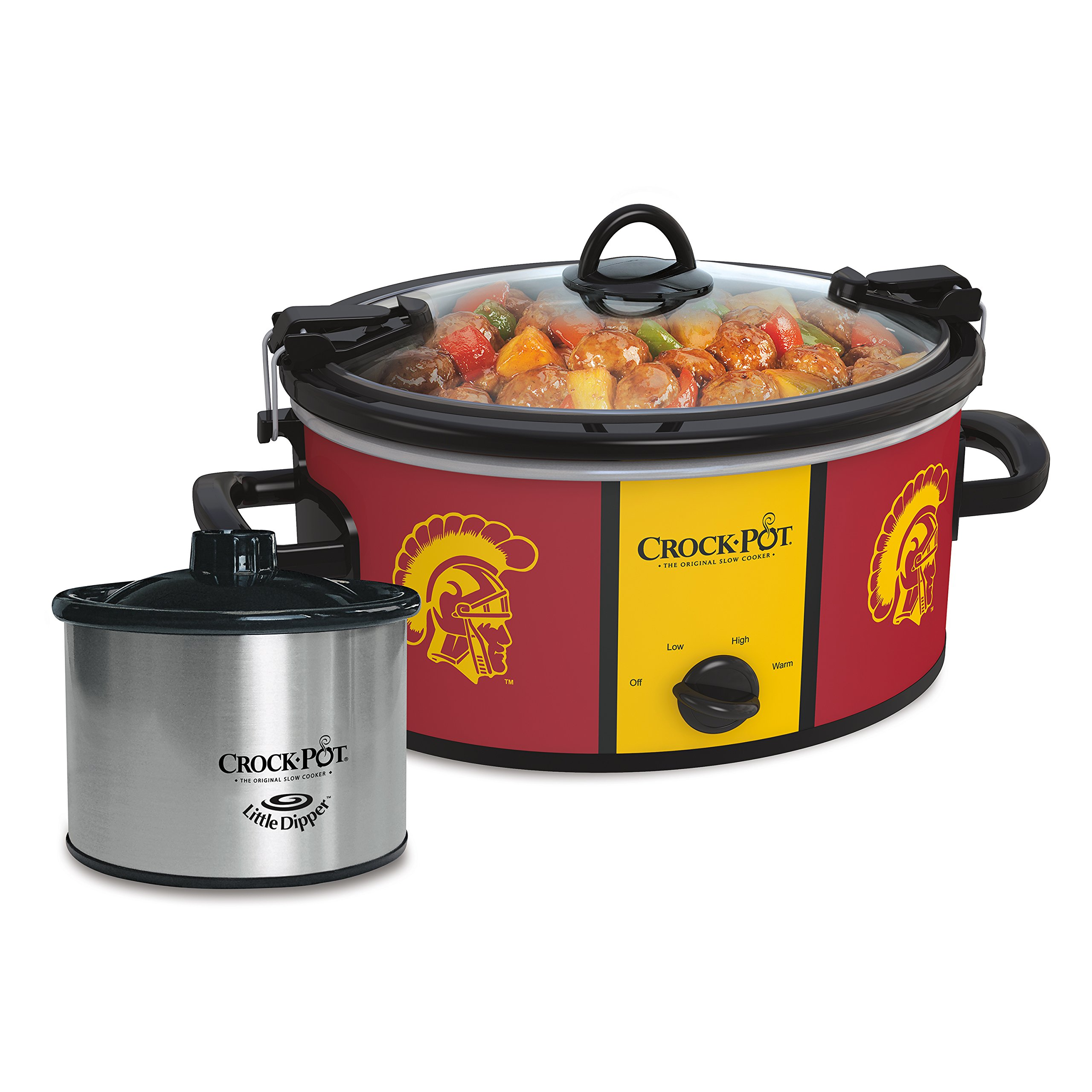 Crock-Pot University of Southern California Trojans Collegiate 6-Quart Cook & Carry Slow Cooker with Bonus 16-Oz. Little Dipper Food Warmer