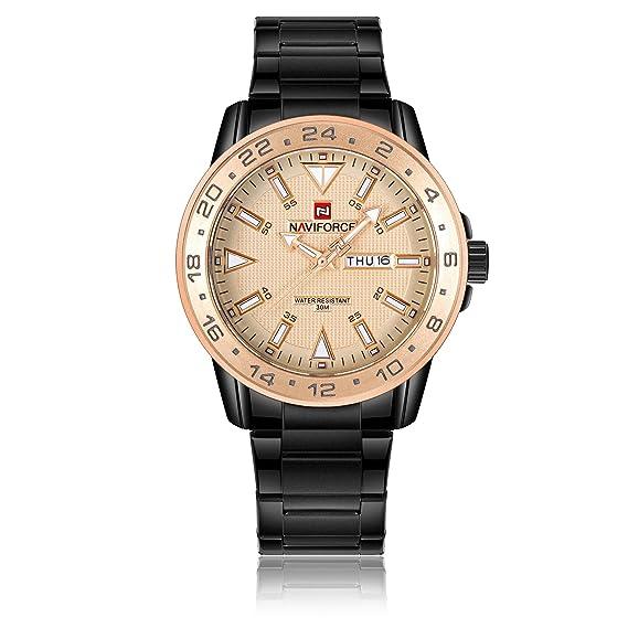 Naviforce reloj analógico cuarzo watch-men de Fashion Classic Vintage cuarzo reloj de pulsera de