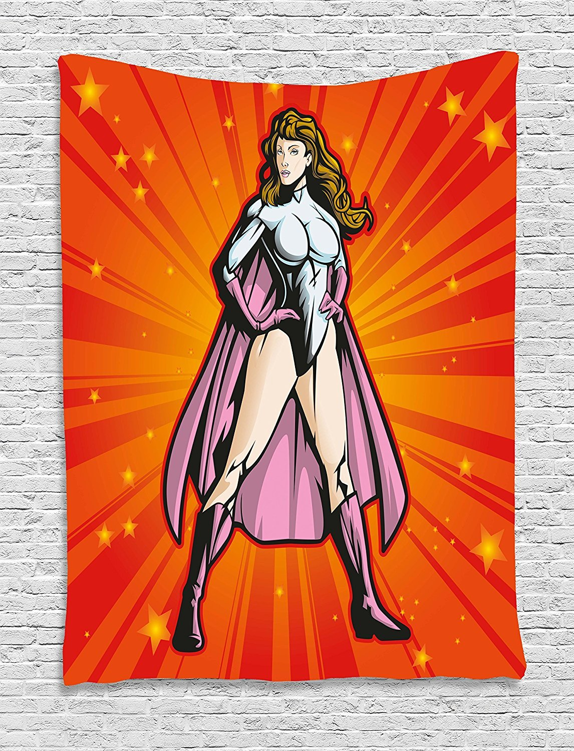 asddcdfdd Superhero Tapestry, Supergirl Female Hero with Super Powers Caped Action Lady Design, Wall Hanging for Bedroom Living Room Dorm, 60 W X 80 L Inches, Fuchsia Vermilion Baby Blue