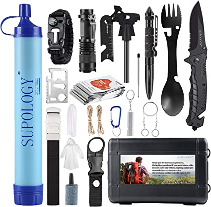 Amazon Com Gifts For Men Dad Husband Supology Emergency Kits Gear 23 In 1 Cool Gadgets Tools With Water Filter For Camping Hiking Adventures Backpack Fishing Hurricane Sports Outdoors
