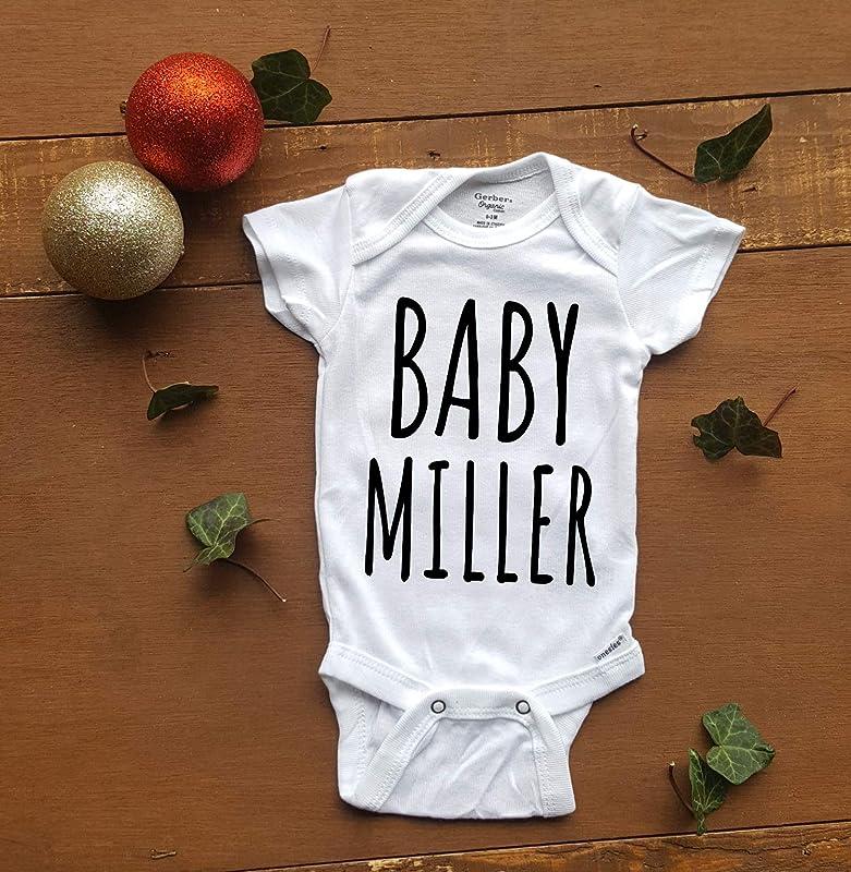 Custom baby surname pregnancy reveal bodysuit baby announcement romper gift