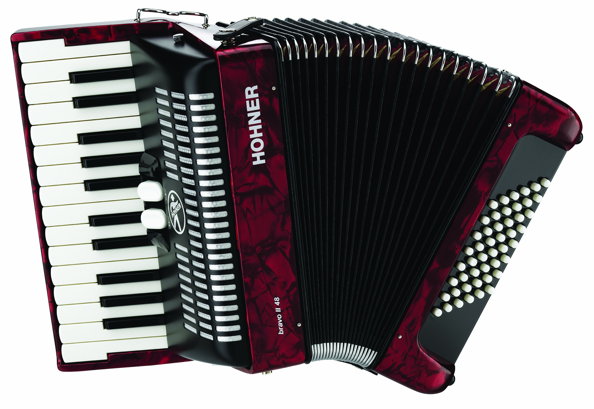 Hohner Accordions BR48R-N 26-Key Piano Accordion, 48 Bass, Red by Hohner Accordions