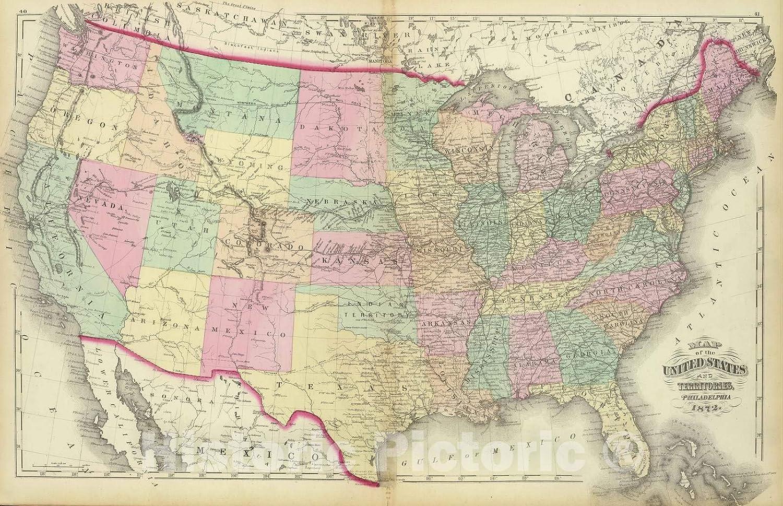 Amazon.com: Historic Map - 1872 United States. - Vintage ...