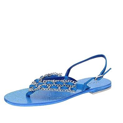 37 EU Sandalen Damen Blau Wildleder / Kristall Swarovski AX691 Eddy Daniele p0436A