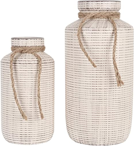 Amazon Com Teresa S Collections Ceramic Decorative Vase Rustic Farmhouse Flower Vases For Home Decor Table Living Room Decoration Set Of 2 Kitchen Dining
