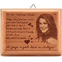 Presto® Personalized Engraved Wooden Photo Plaque Frame Gifts for Crafts with Quotes for 1st Anniversary 25th Happy Birthday Girl Friend or Boy Friend Love Couple